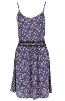 Select Fashion Fashion Womens Blue Floral Crochet Waist Cami Drs - size 12