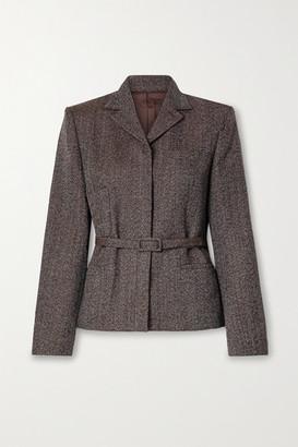 Commission Belted Wool-tweed Blazer - Dark brown