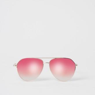 River Island Womens Rose Gold aviator sunglasses