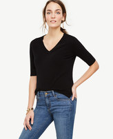Ann Taylor Cashmere Short Sleeve V-Neck Sweater