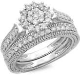 DazzlingRock Collection 0.85 Carat (ctw) 14K White Gold Round Cut Diamond Vintage Bridal Cluster Engagement Ring Set (Size 7)