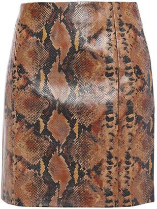 Ronny Kobo Faux Snake-effect Leather Mini Skirt