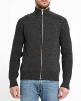 Schott NYC Charcoal Zipped Patch Cardigan