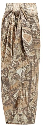Edward Crutchley Raja-print Lame Wrap Skirt - Brown Multi