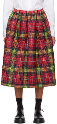 Comme des Garcons Red Plaid Quilted Skirt