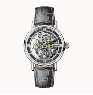 Ingersoll Herald Automatic with Stainless Steel Case, Skeleton Dial and Grey Croco Embossed Leather Strap