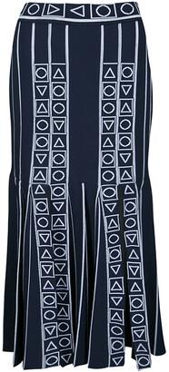 Peter Pilotto Navy Blue and White Index Knit Slit Detail Midi Skirt M