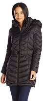 Laundry by Shelli Segal Women's Belted Faux-Down Coat with Faux-Fur Hood