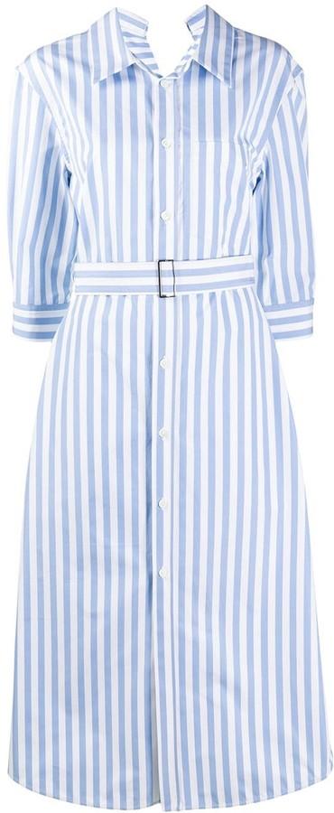 Marni Stripe Belted Cotton Shirt Dress