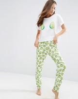 Asos Avocado Print Tee & Jogger Pajama Set