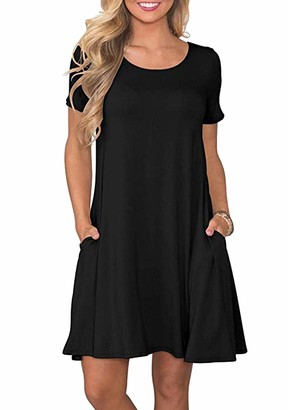 OMZIN Women's Short Sleeve Pleated Loose Swing Casual Dress with Pockets Knee Length with Pockets A-Line Dress Swing Dress for Women Green XL