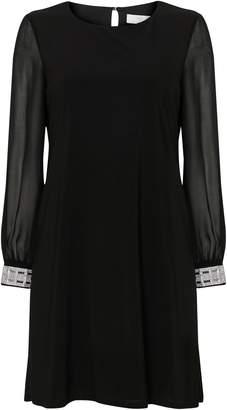 Wallis PETITE Black Embellished Cuff Shift Dress