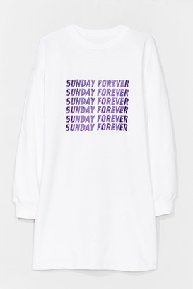 Nasty Gal Womens Sunday Forever Embroidered Sweatshirt Dress - White