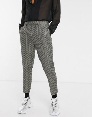 ASOS DESIGN slim smart trousers in gold jacquard