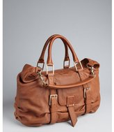 Botkier chestnut leather 'Sasha' front flap satchel