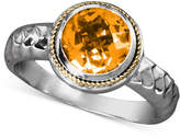 Effy Balissima by Citrine Round Ring (1-5/8 ct. t.w) in Sterling Silver and 18k Gold