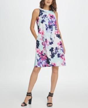 DKNY Sleeveless Trapeze Floral Dress
