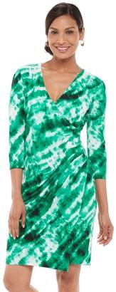Chaps Petite Print Faux-Wrap Dress