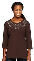 As Is Denim & Co. 3/4 Sleeve Knit Top with Embroidery Detail
