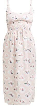 Emilia Wickstead Giovanna Boat-print Dress - Womens - Pink Print