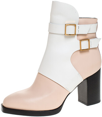 Tod's White/Peach Leather Buckle Ankle Boots Size 38.5