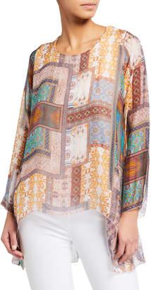 Moda Seta Tile Print Silk-Blend Tunic