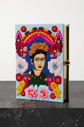 Olympia Le-Tan Frida Embroidered Appliqued Canvas Clutch