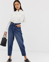 Asos Design DESIGN Balloon leg boyfriend jeans in dark mid wash blue