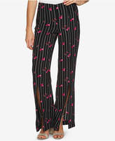 CeCe Floral-Stripe Pull-On Pants