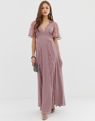 ASOS DESIGN maxi dress with flutter sleeve and all over lace insert