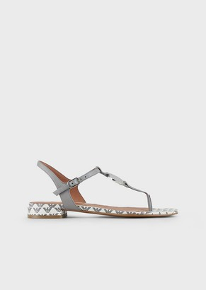 Emporio Armani T-Shaped, Nappa-Leather Sandals With Logo Plate