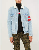 GCDS Striped-sleeve faux-shearling and denim jacket