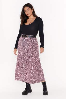 Nasty Gal Womens Grow Your Worth Plus Floral Midi Skirt - red - 16