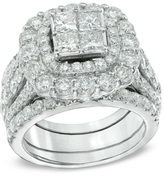Zales 5 CT. T.W. Princess-Cut Quad Diamond Double Frame Bridal Set in 14K White Gold
