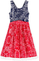 Bonnie Jean Bandana-Print Peek-a-Boo Dress, Little Girls (2-6X)