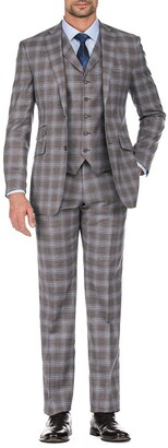 English Laundry Brown Plaid Two Button Notch Lapel Slim Fit Vest Suit