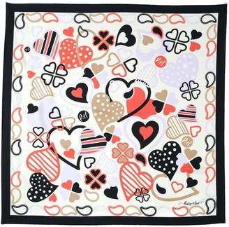 Paisley & Heart Silk Twill Square Scarf Classic Black Border