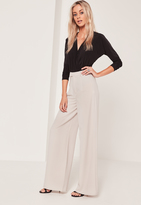Missguided Tall Exclusive Premium Crepe Wide Leg Trousers Grey