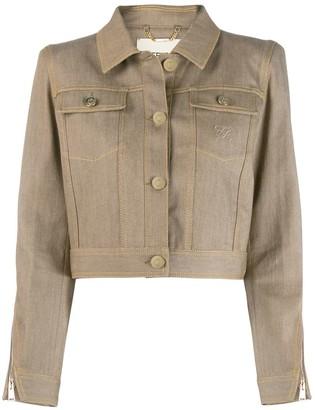 Fendi Karligraphy motif cropped denim jacket