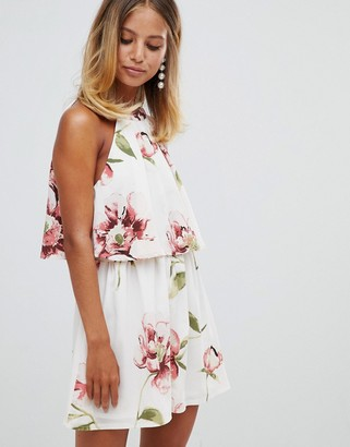Girl In Mind double layer floral romper