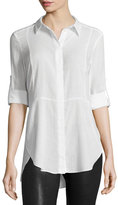 Halston Long-Sleeve Button-Front Shirt, Linen White