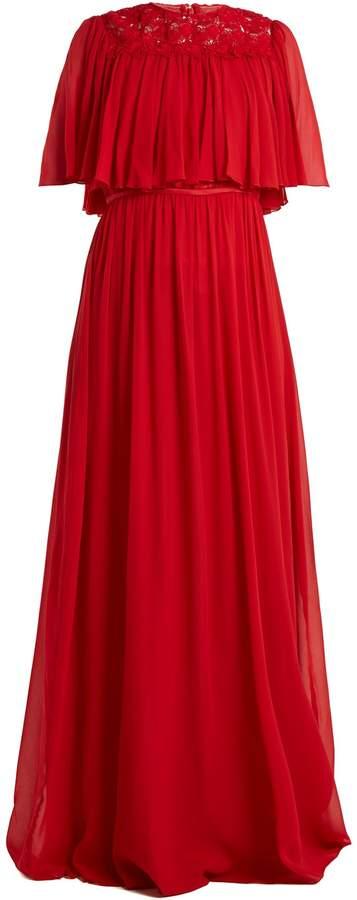 Giambattista Valli Macramé-lace tiered silk-georgette gown