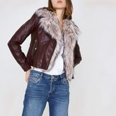 River Island Womens Burgundy faux fur trim biker jacket