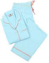 Sateen Pajama Set, Blue/Coral