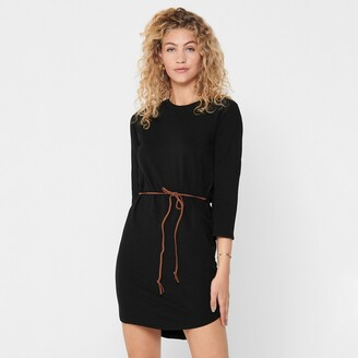 Jacqueline De Yong Tie-Waist Mini Dress with 3/4 Length Sleeves