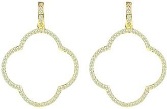Large Open Clover Drop Earrings White Cz Gold