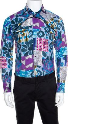 Etro Multicolor Printed Linen Long Sleeve Button Front Shirt S