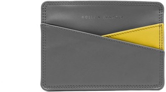 Holly & Tanager Continental Leather Passport Holder In Grey & Yellow