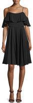 Milly Emmaline Cold-Shoulder A-Line Dress, Black