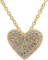 Crislu 18K Over Silver Cz Pave Heart Necklace